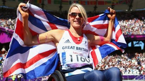 Josie Pearson celebrates F51 discus gold at the 2012 Paralympics