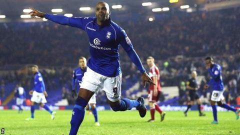 Marlon King celebrates for Birmingham