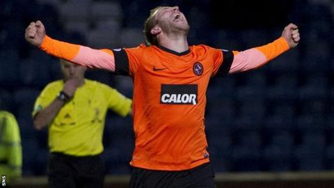 Johnny Russell netted a hat-trick for Dundee United