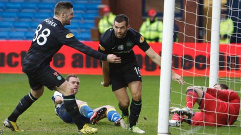 Joe Ledley scores as Celtic win 3-1 at Kilmarnock in the Scottish Premier League