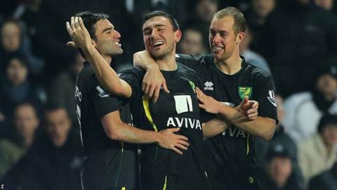 Robert Snodgrass and Norwich team-mates celebrate