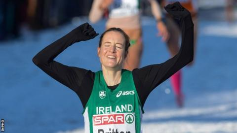 Fionnuala Britton crosses the line in Hungary