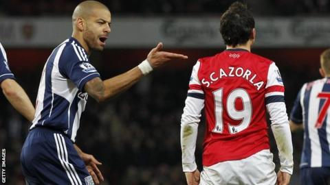 West Brom right-back Steven Reid (left) says he did not make contact with Arsenal's Santi Cazorla