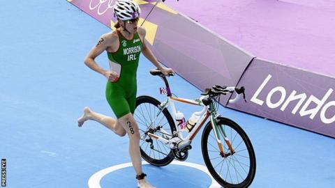 Aileen Reid begins the bike section at the London Olympics