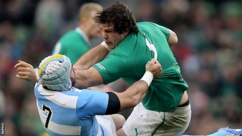 Mike McCarthy in action for Ireland against Argentina last month