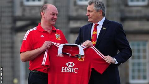 James Robson and Andy Irvine (right) are on the Lions backroom team