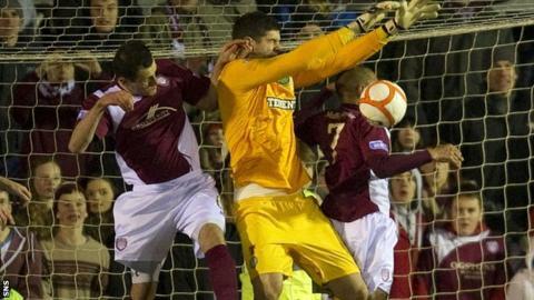 Arbroath were denied a goal for a foul on Celtic keeper Fraser Forster