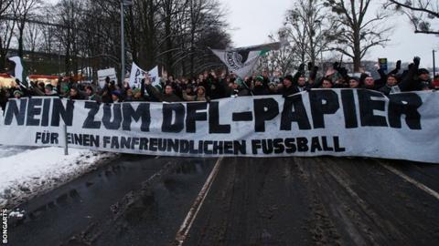 German football fans protest against planned security restrictions