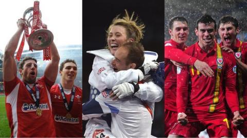 Rugby wing Alex Cuthbert celebrates the Grand Slam; Jade Jones wins taekwondo Olympic gold; footballer Gareth Bale scores the winner in a World Cup qualifier against Scotland
