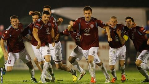Hastings United celebrate their penalty win