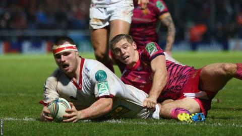 Ken Owens begins the Scarlets' fight-back at Exeter as the hooker scores a close-range try
