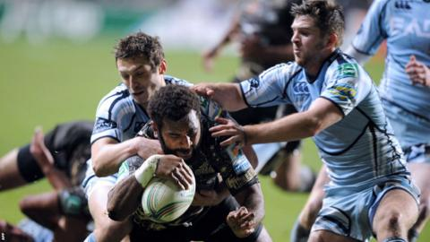 Montpellier's Jim Nagusa forces his way over the try line as Cardiff Blues lose 34-21 at the Yves du Manoir Stadium in the Heineken Cup