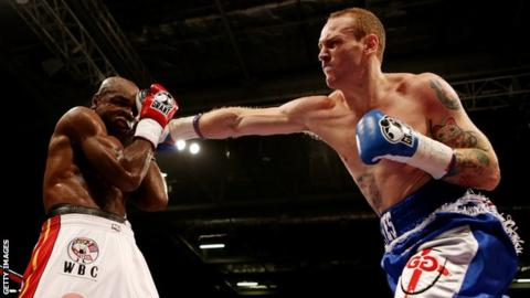 George Groves (right) lands a punch on Glencoffe Johnson