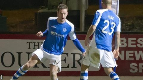 Steven MacLean (left) celebrates his goal for St Johnstone
