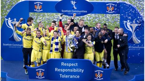 Kilmarnock celebrate beating Celtic to lift the 2012 Scottish Communities League Cup at Hampden Park