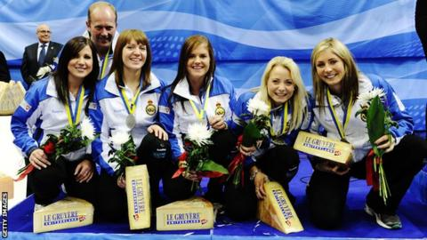 The Scottish rink show off their silver medals
