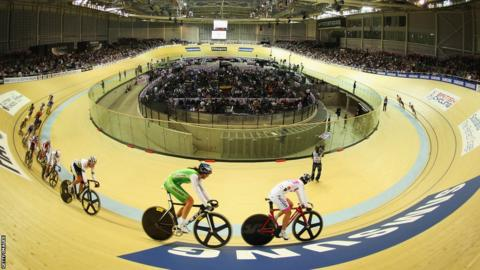 A general view of the Women's Omnium Points race during day two of the UCI Track Cycling World Cup at Sir Chris Hoy Velodrome