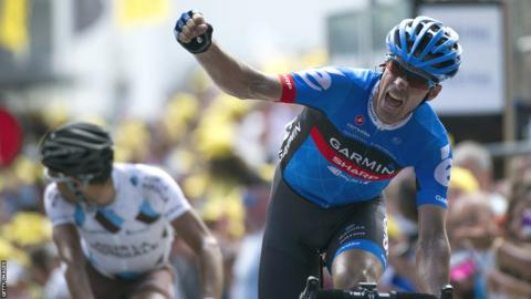 David Millar celebrates winning stage 12 of the 2012 Tour de France