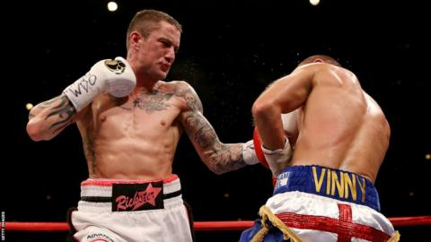 Ricky Burns launches another blistering assault on Kevin Mitchell in his defence of his WBO world lightweight title at the SECC in Glasgow