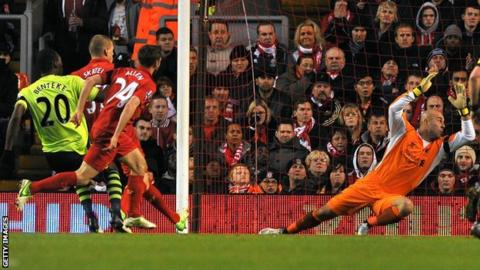 Benteke fires Villa's second goal at Anfield