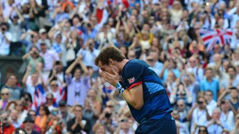 Andy Murray beats Roger Federer to win gold in the men's singles of the 2012 Olympics in London