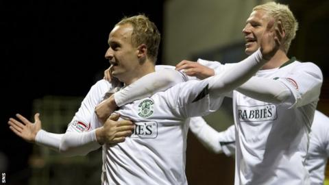 Leigh Griffiths and Ryan McGivern celebrate