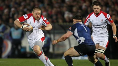 Ulster's Tom Court attempts to get past Leinster opponent Cian Healy during the Pro12 clash at Ravenhill