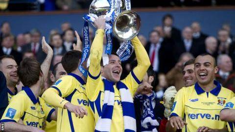 Kilmarnock's Garry Hay with the Scottish League Cup trophy