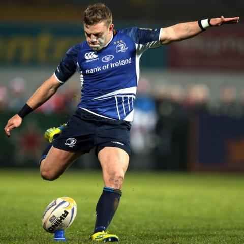 Ian Madigan lands a successful penalty attempt during the first half of Leinster's match away to Ulster