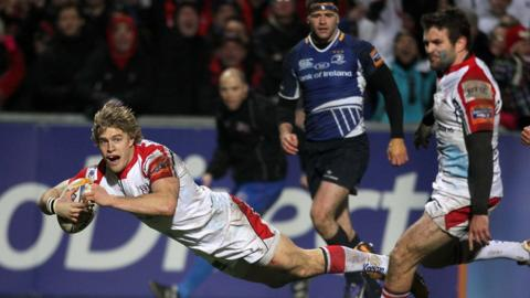 Winger Andrew Trimble dives over for his try - Ulster's third in the Pro12 match against Leinster