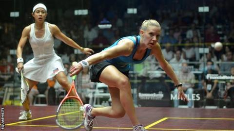 Laura Massaro in action against Nicol David in the World Open final
