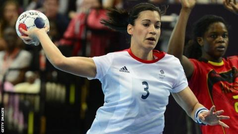 Great Britain handball player Holly Lam-Moores in action at the London 2012 Olympics
