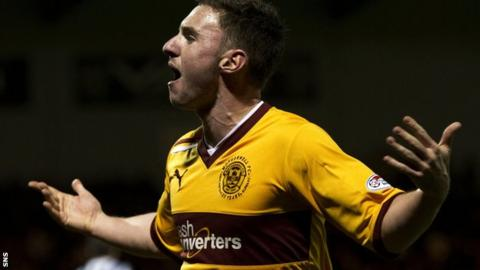 McHugh celebrates his consolation goal against St Mirren on Saturday