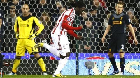 Kenwyne Jones scores for Stoke against Liverpool
