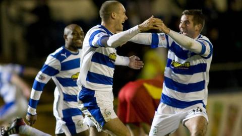 Michael Tidser (centre) celebrates his second goal for Morton