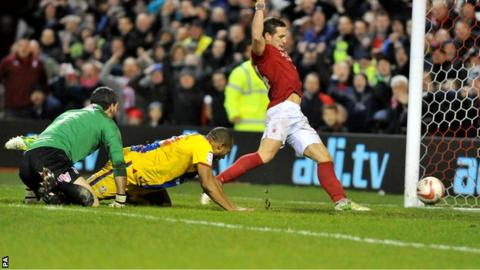Billy Sharp scores Forest's late equaliser