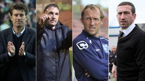 Swansea manager Brian Laudrup, Cardiff manager Malky Mackay, Wrexham player-manager Andy Morrell, Newport manager Justin Edinburgh