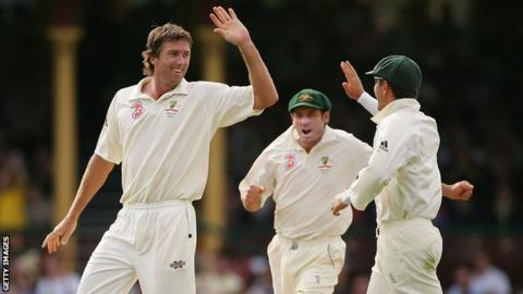 Glenn McGrath (left) is congratulated by his team-mates during the victorious home Ashes series in 2007