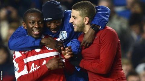 QPR celebrate at the final whistle