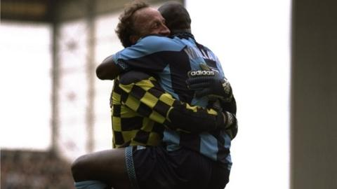 Steve Ogrizovic is hugged by Paul Williams at White Hart Lane, May 1997