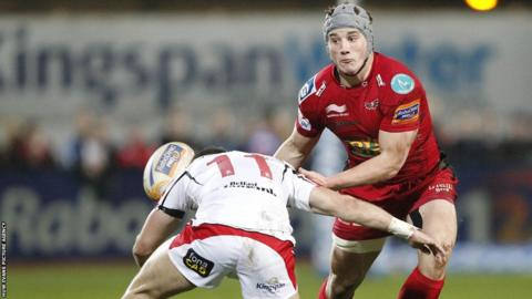 Jonathan Davies gets a pass away as the Scarlets lose heavily to Ulster