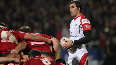 Ulster scrum-half Ruan Pienaar prepares to put the ball in at a scrum