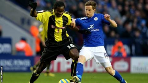 Leicester's Andy King and Burton's Calvin Zola