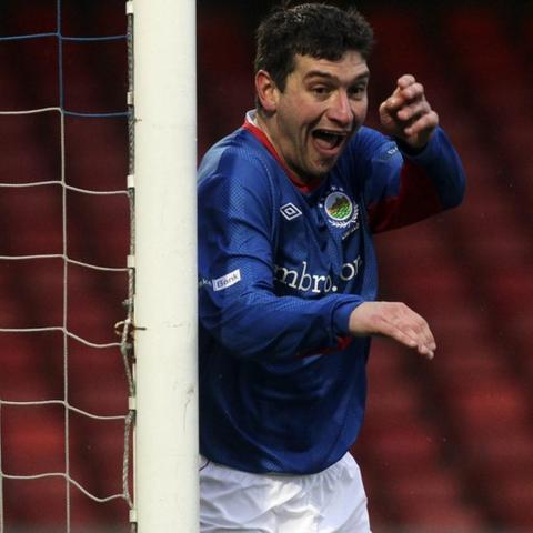 Matthew Tipton celebrates one of the three goals he scored in Linfield's 5-2 win over Coleraine at Windsor Park