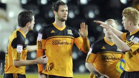 Hull City celebrate Nick Proschwitz's equaliser