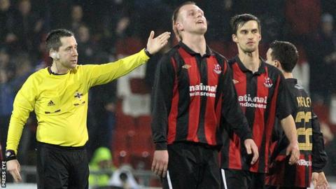 Jordan Owens of Crusaders was sent-off in the match against Linfield