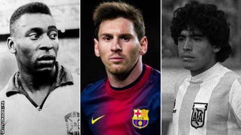 Pele, Lionel Messi and Diego Maradona