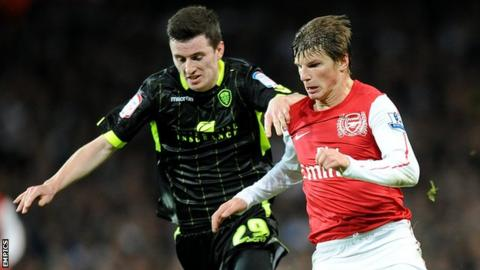 Zac Thompson in action for Leeds against Arsenal