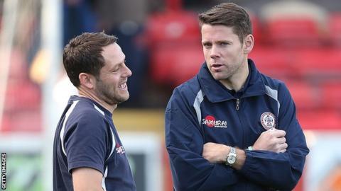 Accrington Stanley manager Leam Richardson and James Beattie