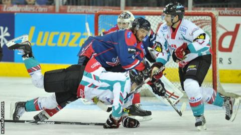 Belfast's Daymen Rycroft battles with Dundee's Doug Krantz in Friday's game